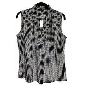 Talbots Tops - Talbots Geo Print Front Pleat Sleeveless Shirt